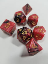 Laden Sie das Bild in den Galerie-Viewer, Dark Pink Red and Black w/Gold 7pc Dice Set