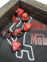 Load image into Gallery viewer, Dark Pink Red and Black w/Gold 7pc Dice Set