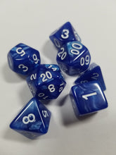 Load image into Gallery viewer, Blue Pearlescent Dice DND Dungeons and Dragons D20 Critical Role Polyhedral Pathfinder RPG Tabletop Gaming TTRPG