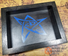 Load image into Gallery viewer, Elder Sign Derleth Lovecraft Handmade Oak Wood and Leather Dice Tray