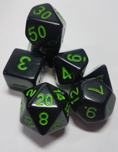 Green and Black Cosmic Horror 7pc Dice Set
