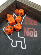 Laden Sie das Bild in den Galerie-Viewer, Orange and Black Dice DND Dungeons and Dragons D20 Critical Role Polyhedral Pathfinder RPG Tabletop Gaming TTRPG