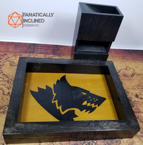 Space Wolves Warhammer 40K Handmade Oak Wood and Leather Dice Tray