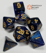 Laden Sie das Bild in den Galerie-Viewer, Blue Galaxy Resin 7pc Dice Set