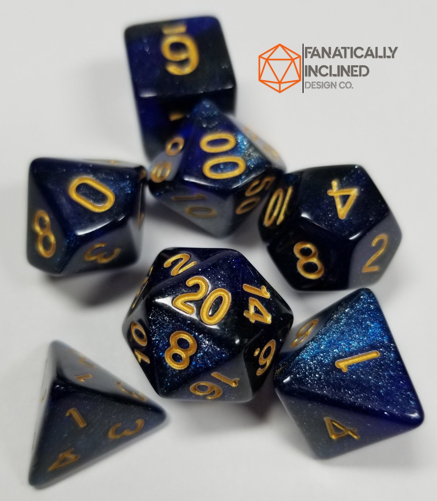 Blue Galaxy Resin 7pc Dice Set