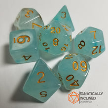 Laden Sie das Bild in den Galerie-Viewer, Cyan Teal Silk Swirl 7pc Dice Set