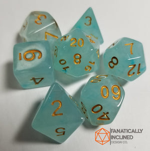 Cyan Teal Silk Swirl 7pc Dice Set