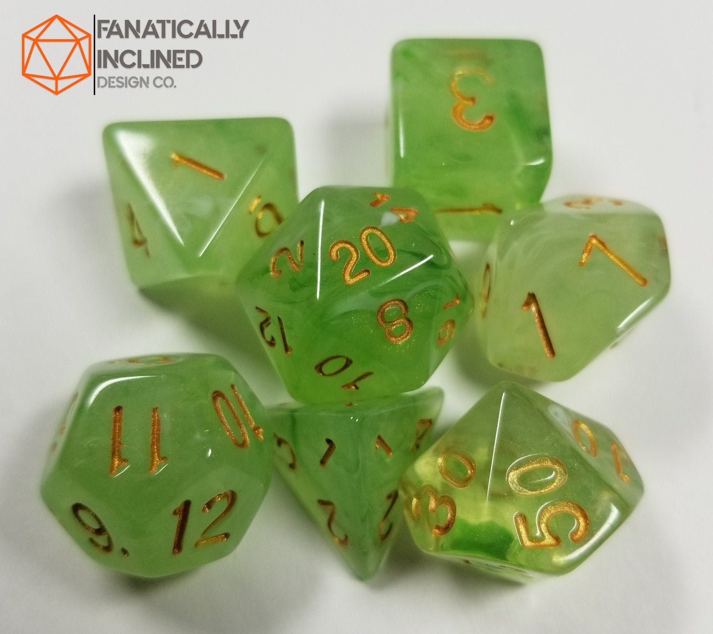 Moss Forest Green Silk 7pc Dice Set