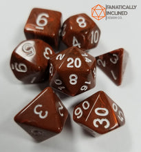 Load image into Gallery viewer, Earth Brown Silk 7pc Dice Set