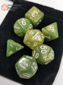 Olive Green Glitter 7 pc Dice Set