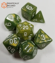 Load image into Gallery viewer, Olive Green Glitter 7 pc Dice Set