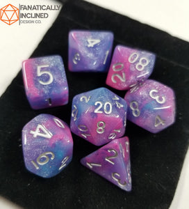 Blue Pink Purple Galaxy Resin 7pc Dice Set