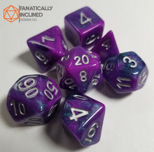 Load image into Gallery viewer, Purple Blue Galaxy Resin 7pc Dice Set