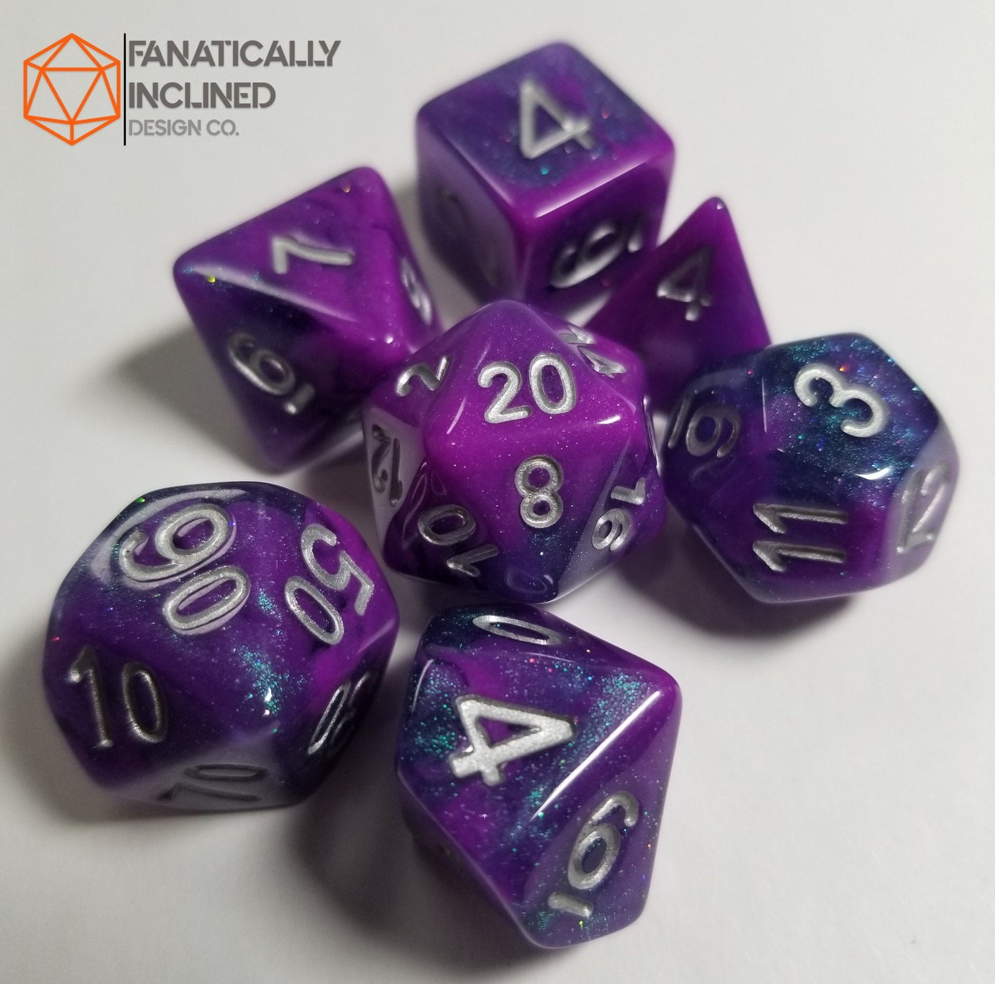 Purple Blue Galaxy Resin 7pc Dice Set