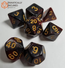 Load image into Gallery viewer, Red Black Galaxy 7pc Dice Set
