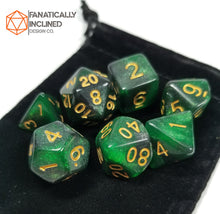 Load image into Gallery viewer, Green Black Galaxy 7pc Dice Set