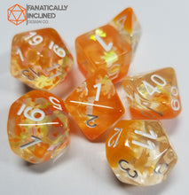 Load image into Gallery viewer, Autumn Orange Dreamlike Puzzle 7pc Resin Dice Set