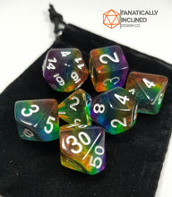 Load image into Gallery viewer, Translucent Rainbow Pride Resin 7pc Dice Set