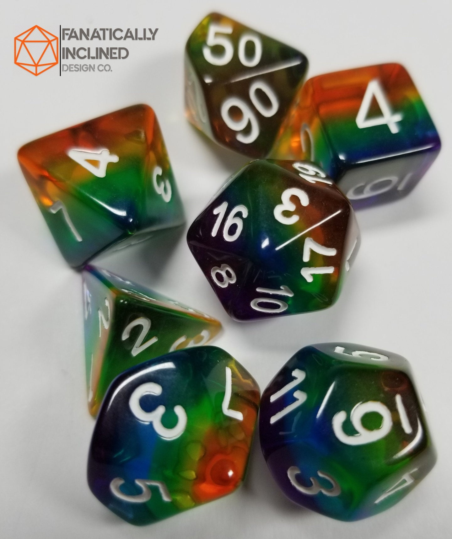 Translucent Rainbow Pride Resin 7pc Dice Set