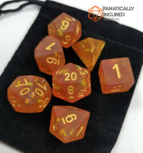 Frosted Orange Glitter Resin 7pc Dice Set