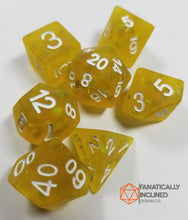 Load image into Gallery viewer, Frosted Yellow Glitter Resin 7pc Dice Set