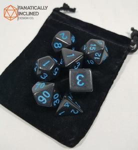 Black and Blue Close Encounters 7pc Dice Set