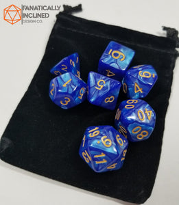 Deep Blue Ocean Pearlescent 7pc Dice Set