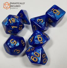 Load image into Gallery viewer, Deep Blue Ocean Pearlescent 7pc Dice Set