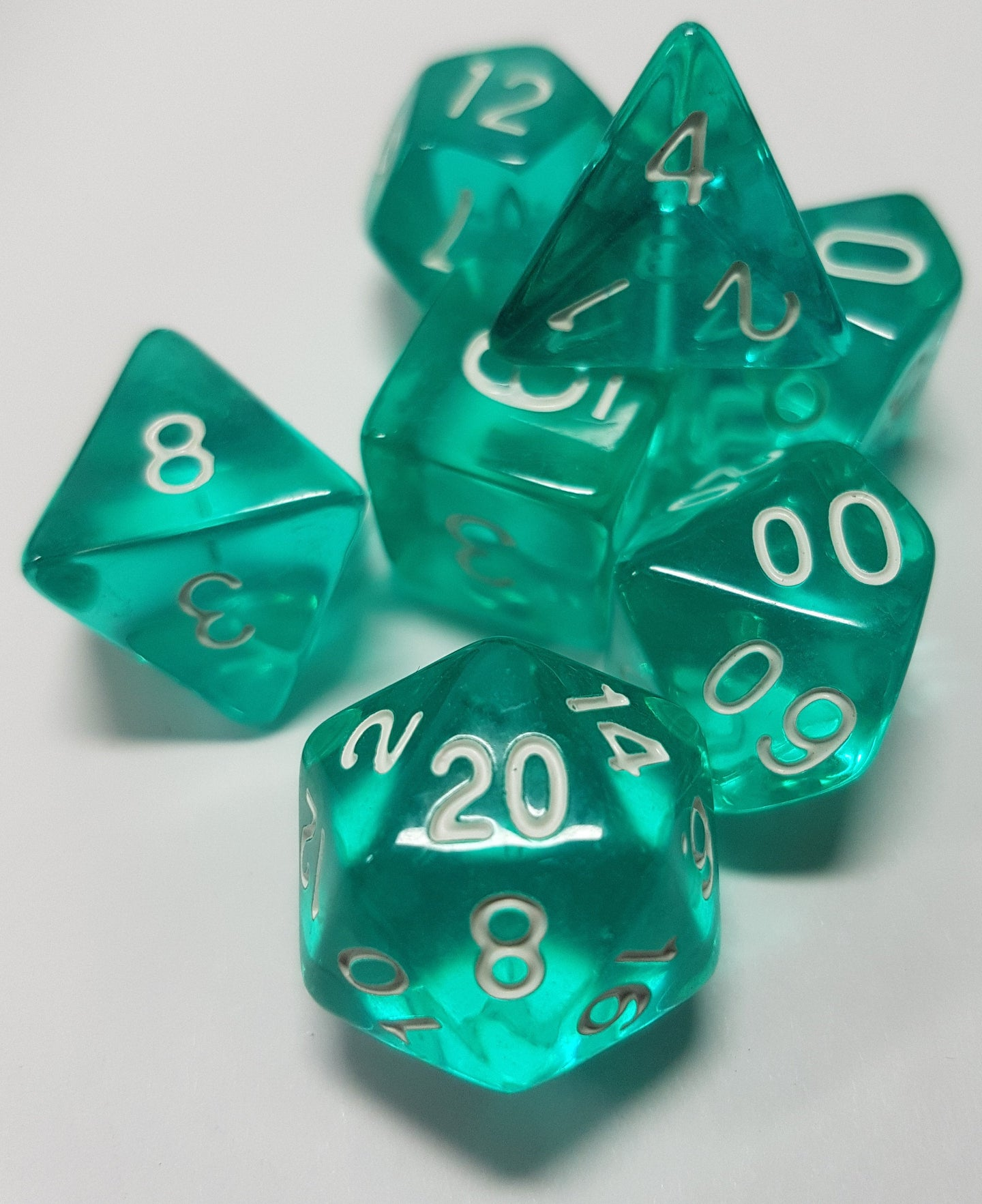 Teal Blue/Green Prismatic Orb 7pc Dice Set