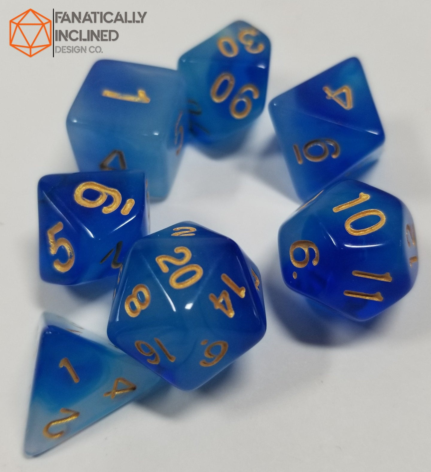 Blue White Swirl Mystical Orb 7pc Dice Set