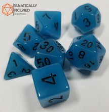 Load image into Gallery viewer, Blue Radiant Glow In The Dark 7pc Dice Set