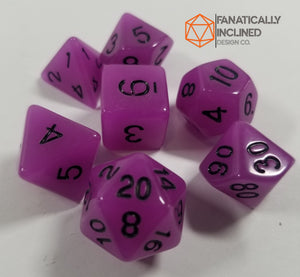 Purple Radiant Glow In The Dark 7pc Dice Set