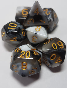 Black Berries and Cream w/Gold 7pc Dice Set