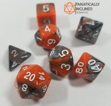 Carica l'immagine nel visualizzatore di Gallery, Glowing Embers Orange and Charcoal w/White 7pc Dice Set