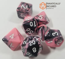 Load image into Gallery viewer, Pink and Black w/White 7pc Dice Set