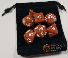 Load image into Gallery viewer, Brown 7pc Dice Set