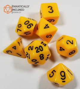 Yellow 7pc Dice Set