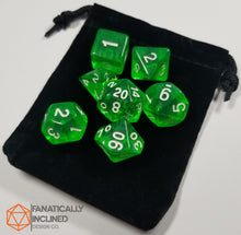 Load image into Gallery viewer, Lime Green Prismatic Orb 7pc Dice Set