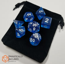 Load image into Gallery viewer, Cobalt Blue Prismatic Orb 7pc Dice Set