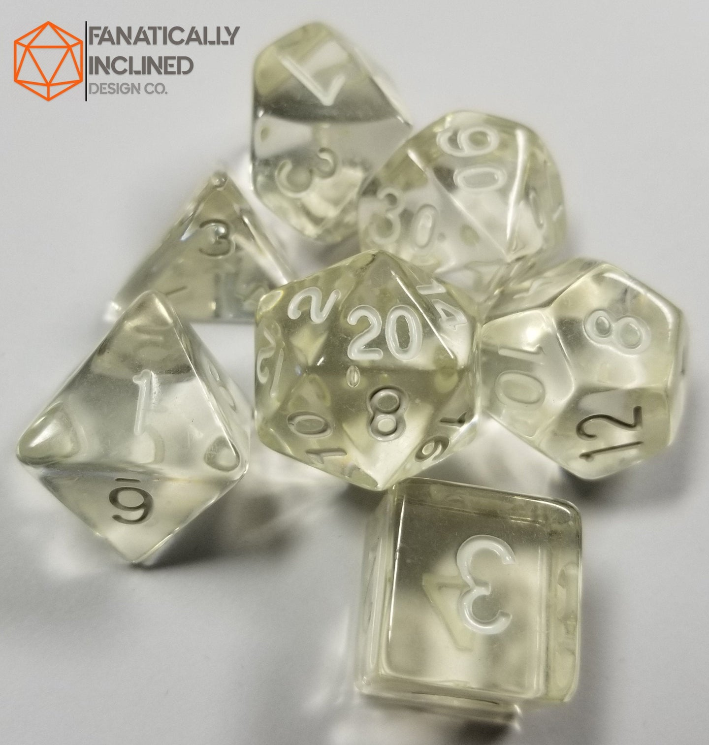 Diamond Clear Prismatic Orb 7pc Dice Set