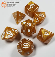 Load image into Gallery viewer, Caramel Brown Pearlescent 7pc Dice Set