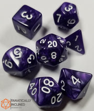 Load image into Gallery viewer, Royal Purple Pearlescent 7pc Dice Set