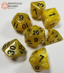 Yellow Pearlescent 7pc Dice Set