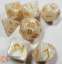 Load image into Gallery viewer, White Pearlescent 7pc Dice Set