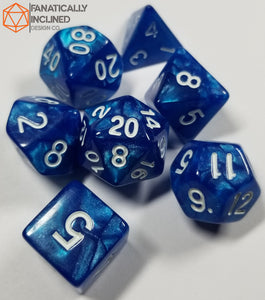 Sapphire Blue Pearlescent 7pc Dice Set