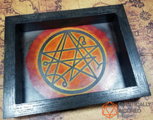 Load image into Gallery viewer, Necronomicon Handmade Oak Wood and Leather Dice Tray
