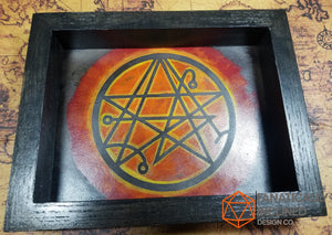 Necronomicon Handmade Oak Wood and Leather Dice Tray
