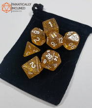 Load image into Gallery viewer, Champagne Gold Glitter 7pc Dice Set