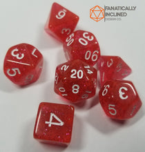 Load image into Gallery viewer, Rose Red Glitter 7pc Dice Set