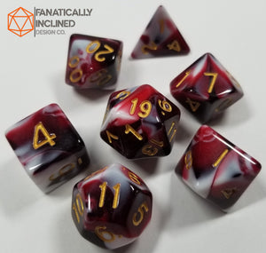 Red Berries and Cream w/Gold 7pc Dice Set